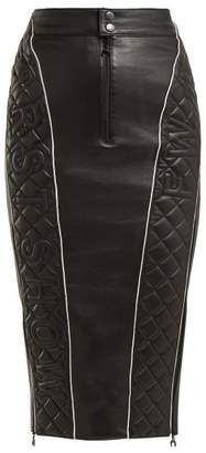 Marine Serre Quilted Leather Pencil Skirt - Womens - Black