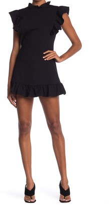 Velvet Torch Ruffle Trim Ponte Mini Dress