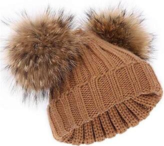 feifanshop Women's Winter Knit Hat Beanie with Double Faux Fur Pom Pom Ears Christmas Khaki