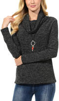 Magic Fit Black Marled Cowl Neck Sweater