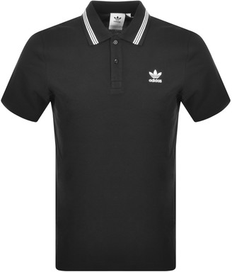 adidas Tipped Polo T Shirt Black