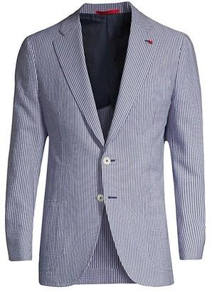 Isaia Stripe Seersucker Single-Breasted Jacket