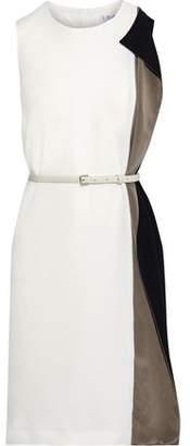 Max Mara Taverna Belted Draped Color-block Cady Dress