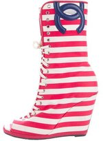 Chanel Stripe Wedge Boots
