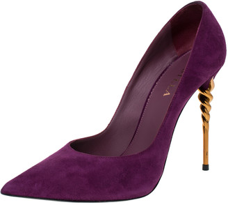 Le Silla Purple Suede Pointed Toe Pumps Size 40