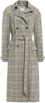 Thumbnail for your product : BA&SH Isor Snap-detailed Checked Cotton-gabardine Trench Coat