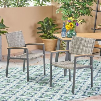Boone Outdoor Wicker Patio Dining Chair Wrought Studio