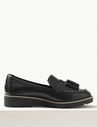 M&S CollectionMarks and Spencer Wide Fit Leather Flatform Tassel Loafers