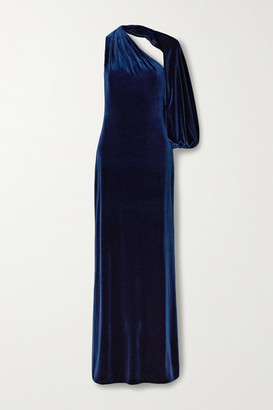 Monique Lhuillier One-sleeve Velvet Gown - Navy