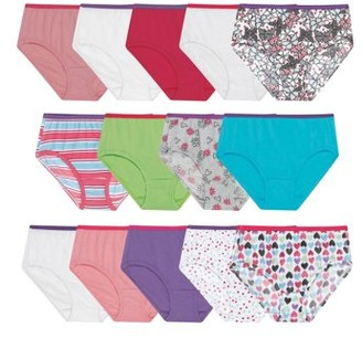 Hanes Girls Underwear, 14 Pack Tagless Super Soft Cotton Brief Panties Sizes 4 - 16