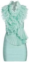 Herve Leger Tulle Ruffle Mini Dress