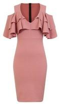 Dorothy Perkins Womens Girls On Film Pink Frill Scuba Bodcon Dress, Pink