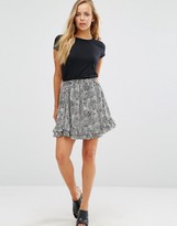 Maison Scotch Printed Ruffle Skirt