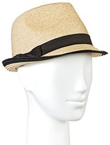 Merona Women's Tan Straw Fedora Hat with Black Ribbon and Black Border