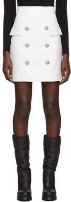 Balmain White High-Waisted Button Miniskirt