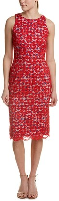 Maggy London Women's Rose Bloom Lace Sheath with Gingham Detail