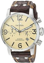 TW Steel Men's 'Maverick' Quartz Stainless and Leather Casual Watch, Color:Brown (Model: MS23)