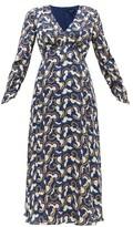 Saloni Lisa Cloud-print Crepe Midi Dress - Womens - Navy White