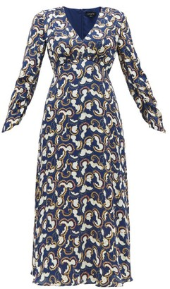 Saloni Lisa Cloud-print Crepe Midi Dress - Navy White