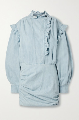 Etoile Isabel Marant Greta Ruffled Cotton-chambray Mini Dress - Light denim
