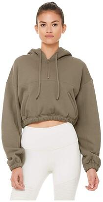 Alo Stadium 1/2 Zip Hoodie (Black) Women's Sweatshirt