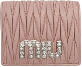 Miu Miu Pink Crystal Logo French Wallet