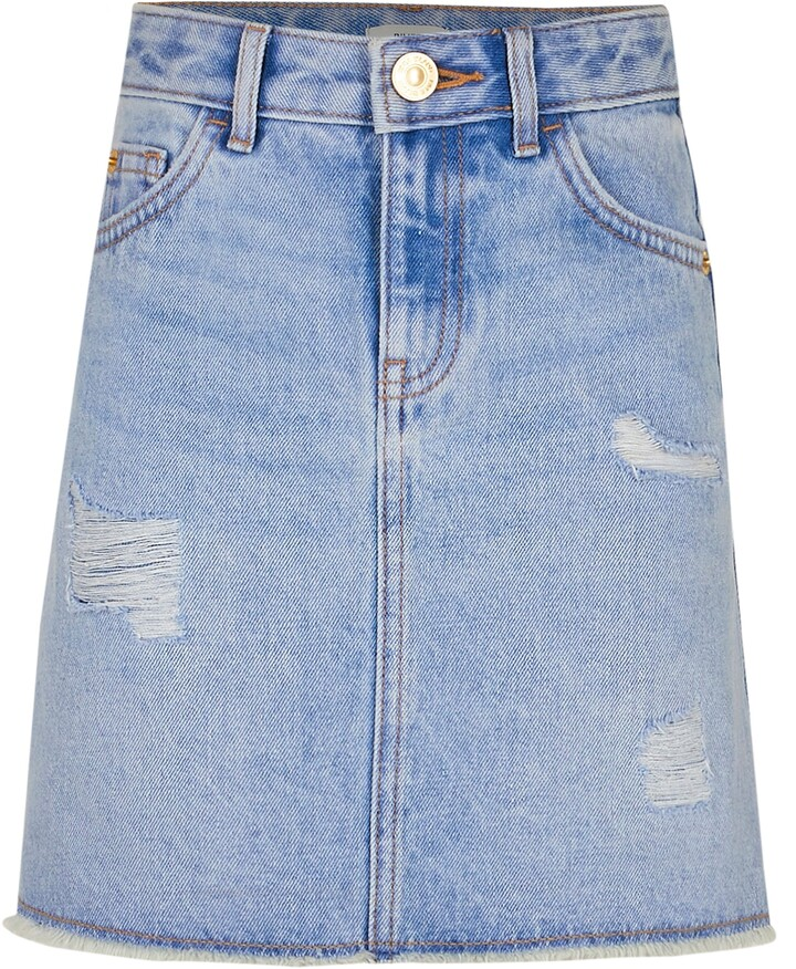 River Island Girls Blue ripped denim skirt