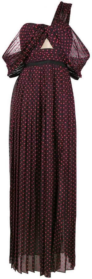 Self-Portrait asymmetric polka-dot maxi dress