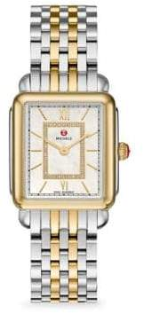 Michele Deco II Two-Tone White Mother-of-Pearl Diamond Watch