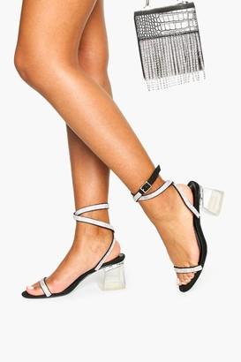 boohoo Embellished Clear Low Block Heels