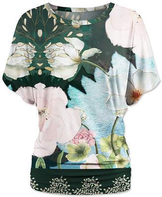 Green Cream Udear UDEAR Women's Blouses Print - Green & Cream Floral Dolman Top - Women & Plus