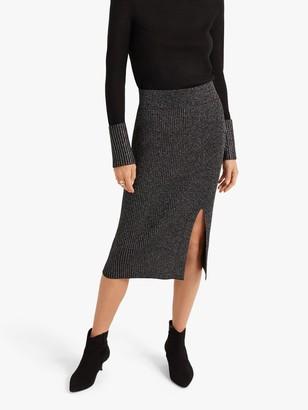 Club Monaco Metallic Pencil Skirt, Black
