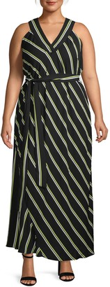 Rachel Roy Plus Jacey Striped Halter Maxi Dress
