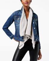 INC International Concepts Sweater-Collar Denim Jacket, Created for Macy's
