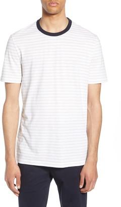 BOSS Tiburt Regular Fit Stripe Linen Blend T-Shirt