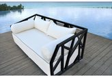 Solis Nidum Indoor/ Outdoor Patio Deep-seated Black Powder-coated Steel Modern Daybed Sofa with White Cushions
