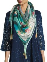 Johnny Was Freemont Floral-Print Silk Scarf