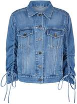 Kenzo Ruched Sleeve Denim Jacket, Blue, L