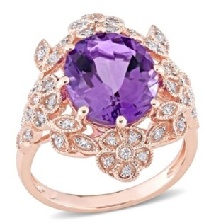 Macy's Amethyst (4 ct. t.w.) and Diamond (1/4 ct. t.w.) Floral Vintage Cocktail Ring in 14k Rose Gold