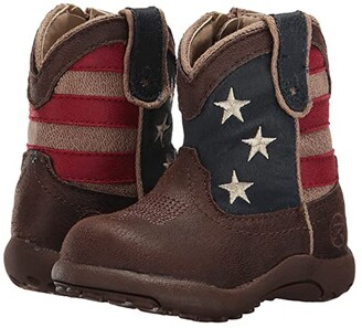 Roper American Patriot (Infant/Toddler) (Brown Faux Leather Vamp Stars & Stripes Shaft) Cowboy Boots