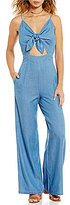 GB Chambray Tie Front Cutout Jumpsuit