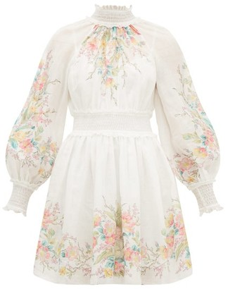 Zimmermann Zinnia Floral-print Shirred Ramie Dress - Cream Print
