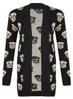 Miss Trendy New Womens Ladies Skull Leopard Cross Print One Size Knitwear Open Cardigan Top