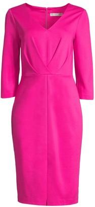 Trina Turk V-Neck Center-Fold Pleated Sheath Dress