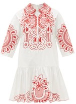 RED Valentino Floral-embroidered Cotton-poplin Mini Dress - Womens - White