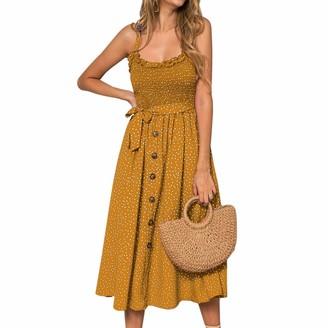 Sfit Women Sleeveless Polka Dot Printed Spaghetti Strap Midi Dress Boho Off Shoulder Beach Dress Ladies Stretch Summer Holiday Sundress Green