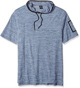 Southpole Men's Big and Tall Short Sleeve Slub Hooded Sweatshirt with Taping Detail