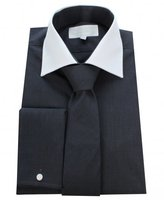 William Hunt Whtie Collar Gingham Shirt With Tie