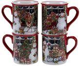 Certified International Snowman Sleigh 4-pc. Mug Set