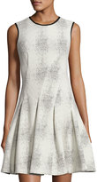 Julia Jordan Sleeveless Magic-Waist Pleated Dress, Ivory/Black